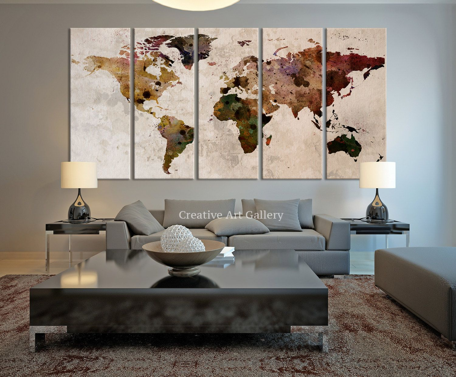 Rustic Canvas Painting Ideas Large Canvas Print Rustic World Map Large Wall Art World