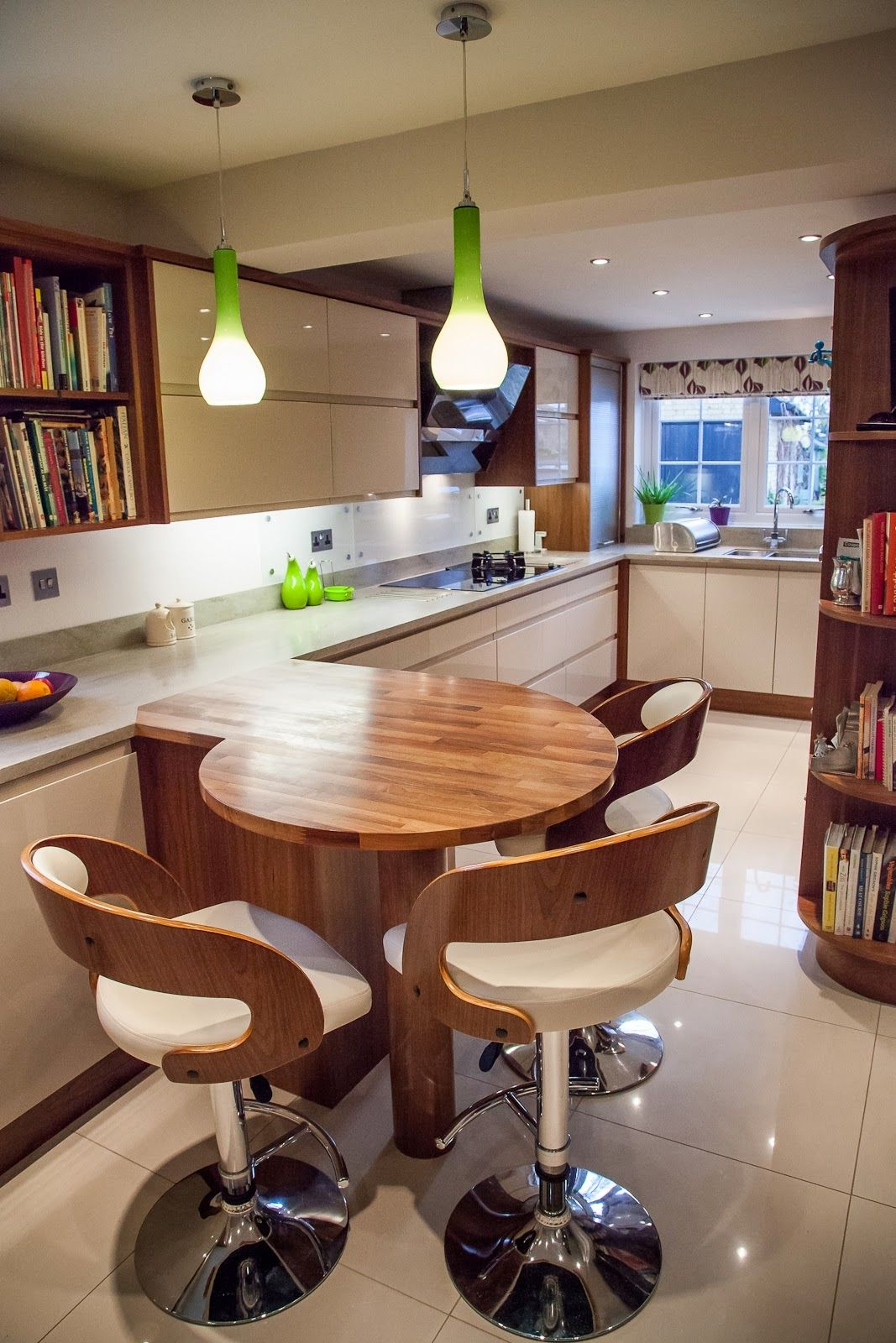 Kitchen Designs With Breakfast Bar Wooden Round Breakfast Bar Situating Under Lime Green