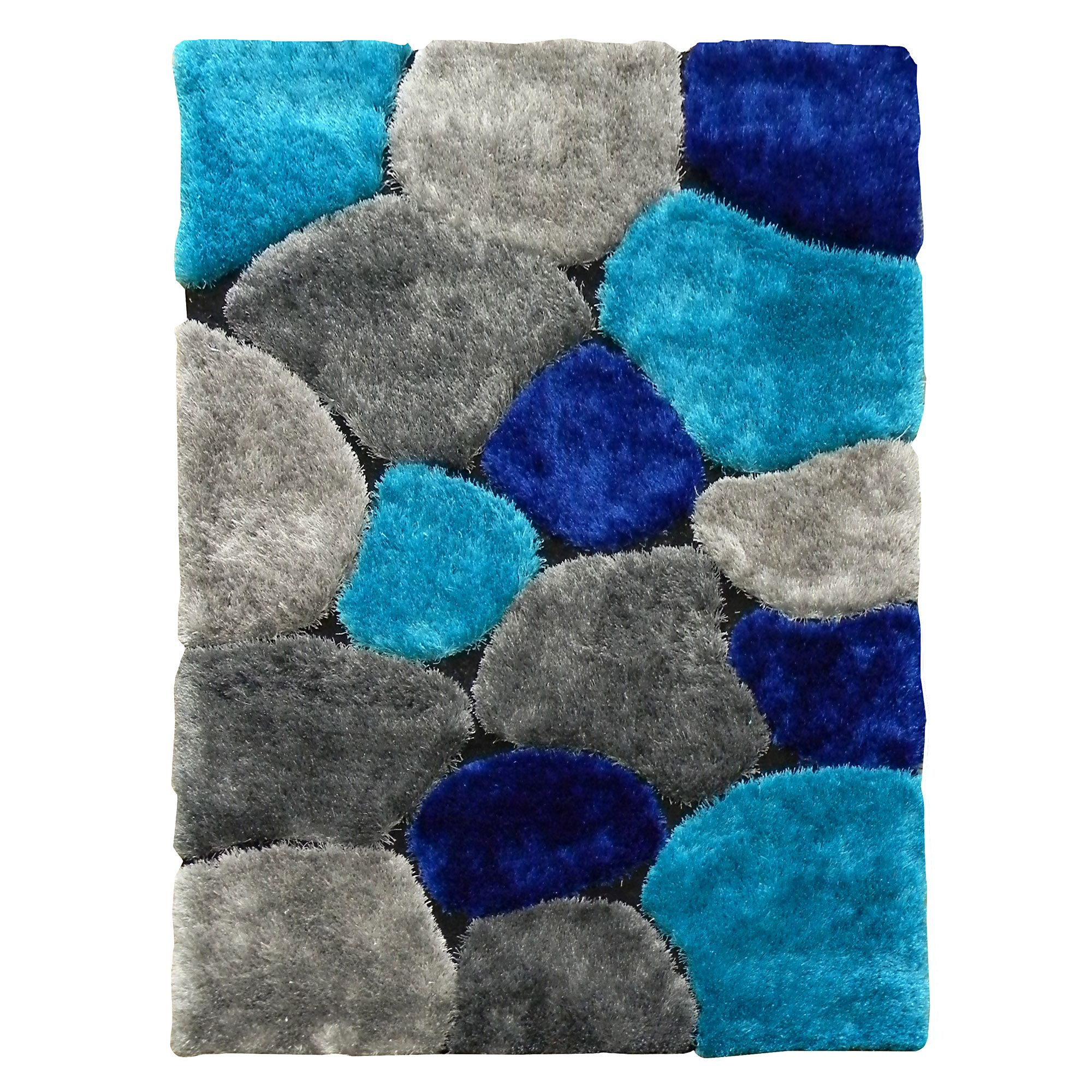 Blue Shag Rug Hand Tufted Flash Shaggy 658 Abstract Color Block Blue