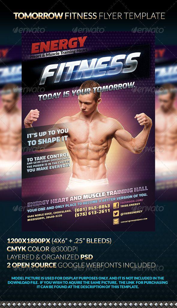 Tomorrow Fitness Flyer Template Modelos, Fontes e Modelo de panfleto - fitness flyer
