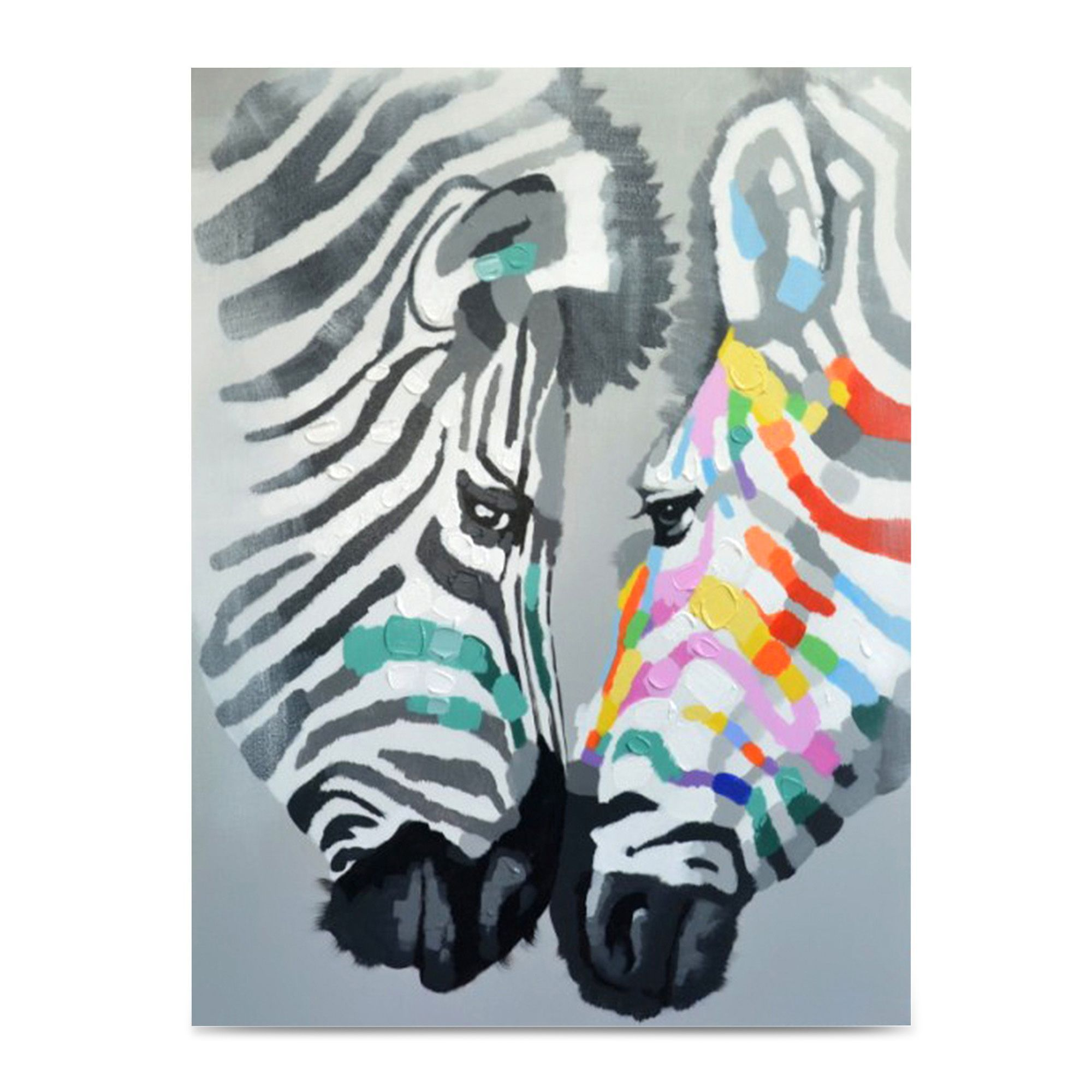 Toile Salon Toile Peinte à La Main 92x120cm Multicolore Zebre