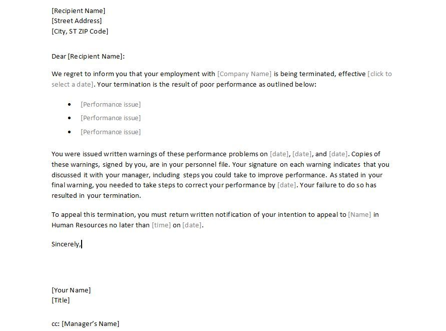 Sample Employee Termination Letter Template - employment - job termination letter