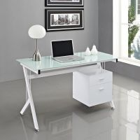 White Glass Computer Desk PC Table Home Office ...