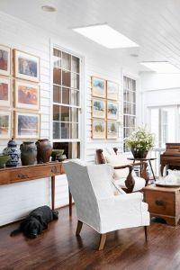 Panelled white living room with dark wood floor | Dark ...