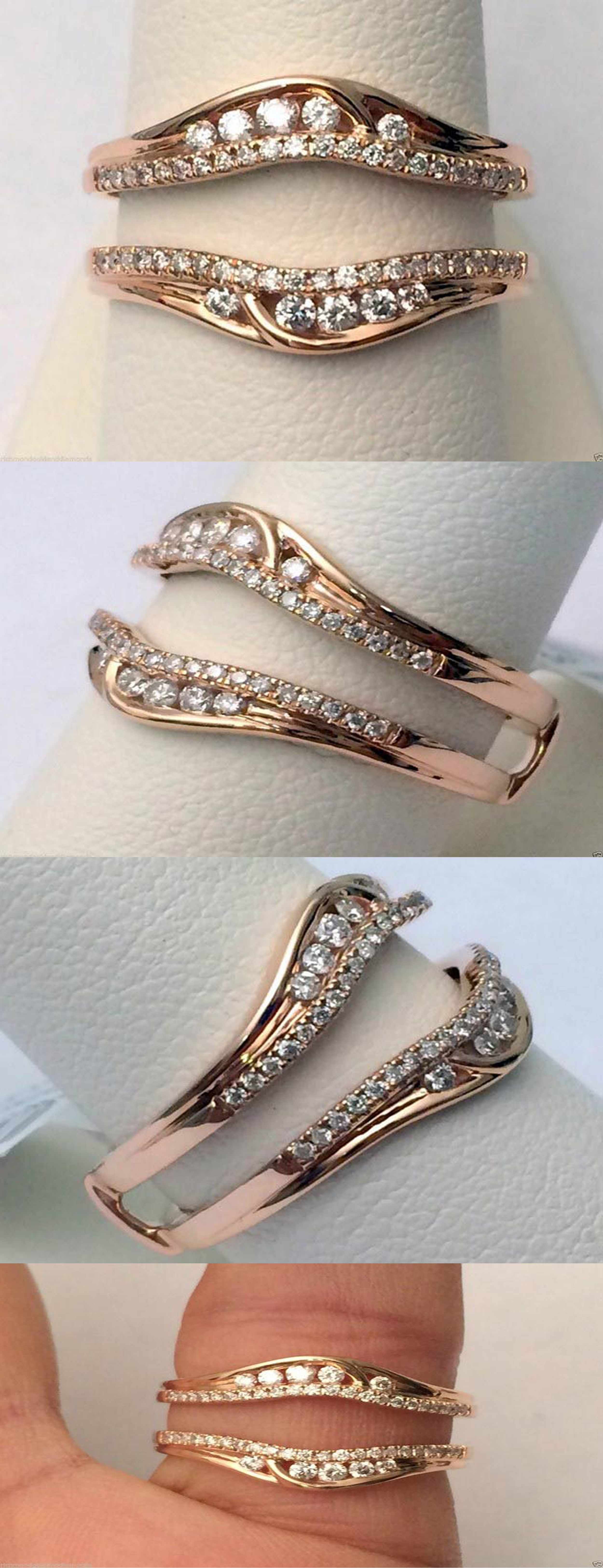 wedding ring wrap 14kt Rose Gold Solitaire Enhancer Round Diamonds Ring Guard Wrap Jacket Insert