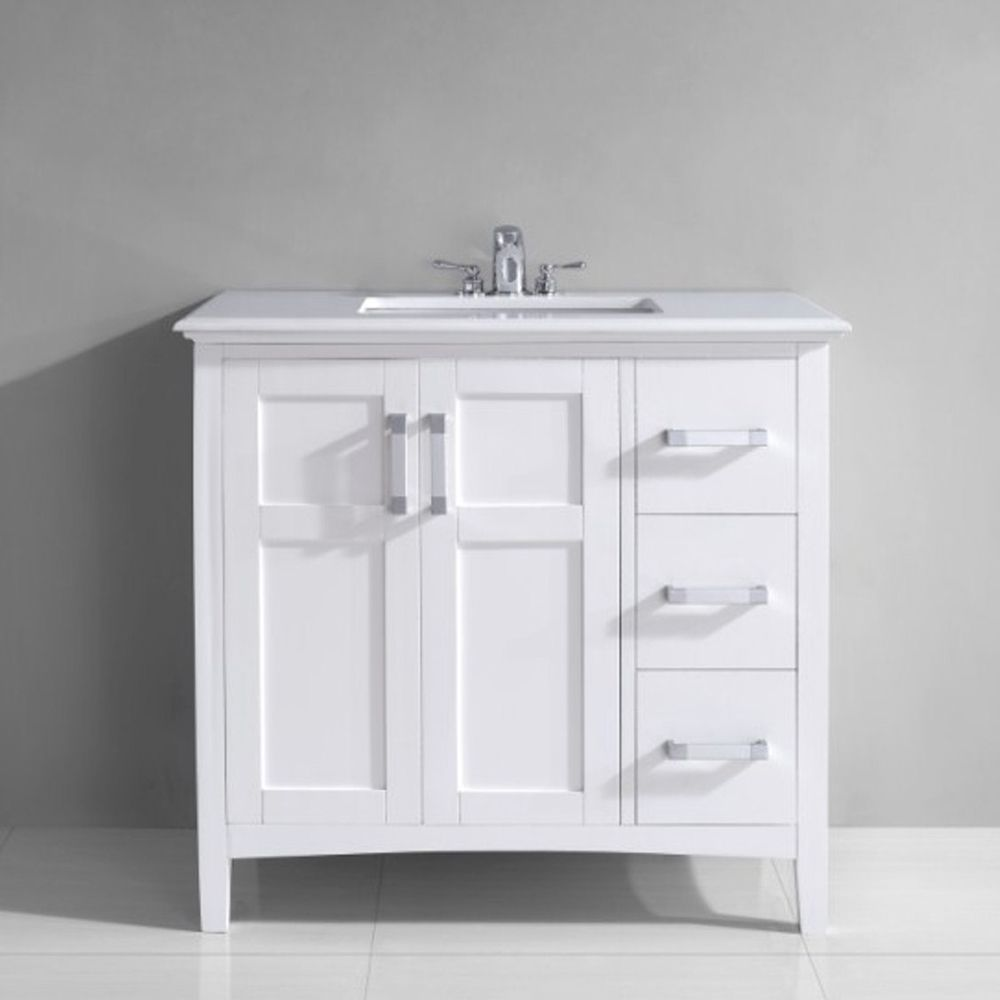Wyndenhall salem 36 inch white quartz marble top single sink bathroom vanity by wyndenhall