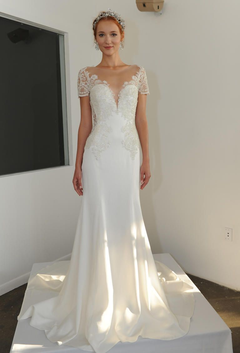 fitted lace wedding dress Marchesa Fall ornately embroidered ribbon work lace fitted wedding dress https