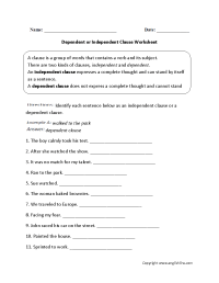 Dependent or Independent Clauses Worksheet | Englishlinx ...