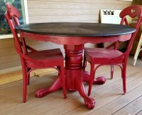 Red painted and glazed clawfoot round pedestal oak dining ...