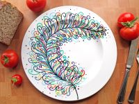 Hand Painted Porcelain Dinner Plate - Rainbow Feather ...