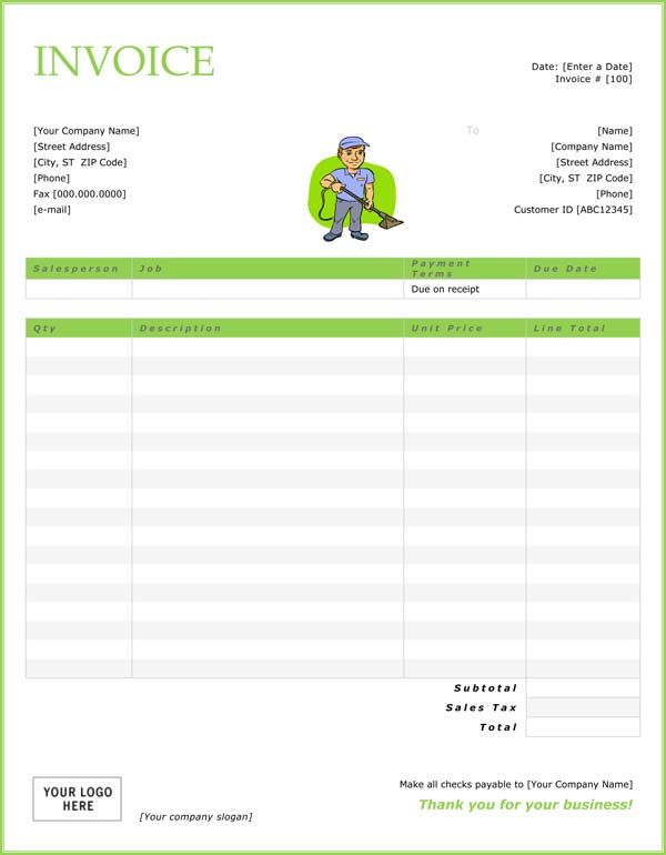 printable cleaning service receipts Cleaning Invoice Template - professional service invoice template