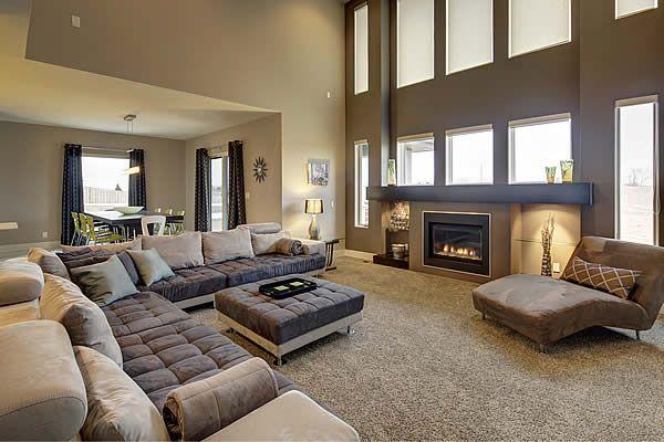 Widhalm Custom Homes Omaha Woodland Model living room family room - living room chaise lounge