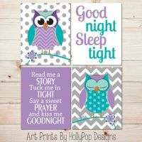 Purple Turquoise Nursery Decor Owl Nursery Wall Art Baby ...