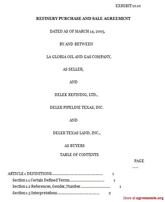 Refinery Purchase and Sale Agreement, Sample Refinery Purchase and - sample purchase and sale agreement template