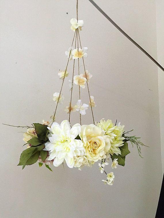 Flower Mobile, Hanging Flowers Home Decor, Baby Nursery Moblie - silk arrangements for home decor
