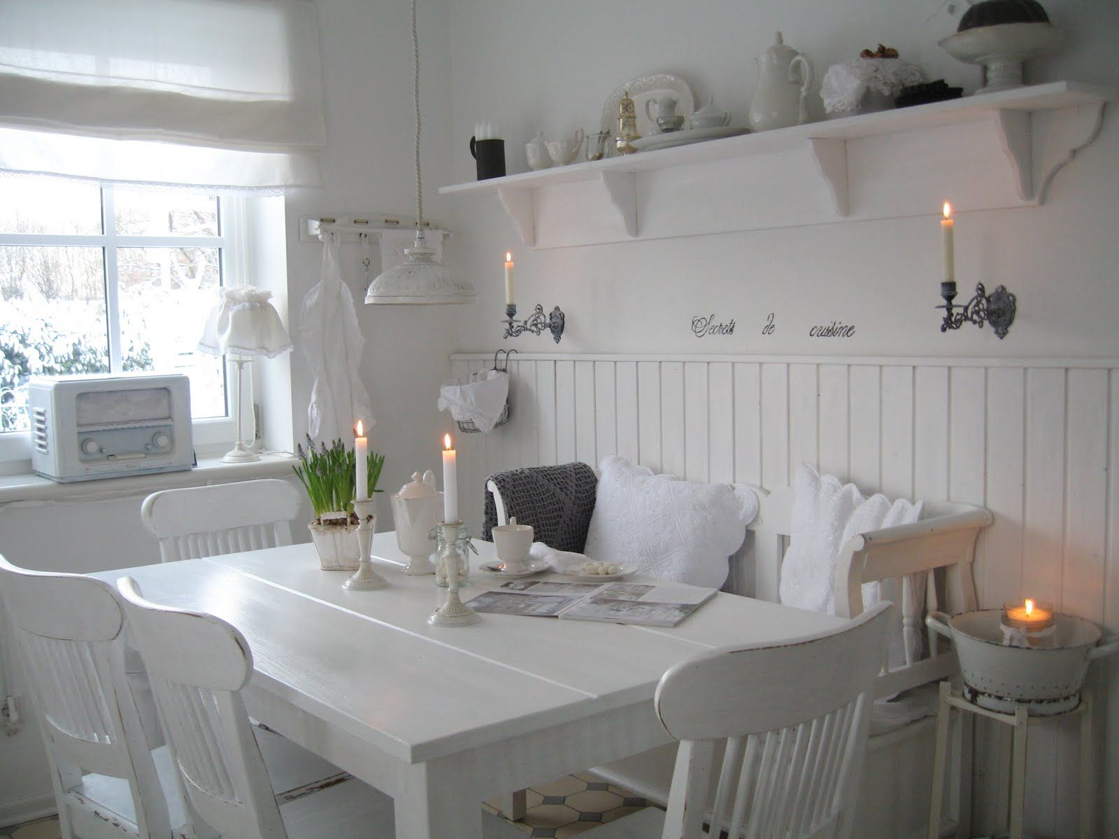 Shabby Chic Küchenmöbel Dining Room White Grey Black Chippy Shabby Chic