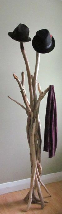 Vertically Standing Driftwood Coat Rack by