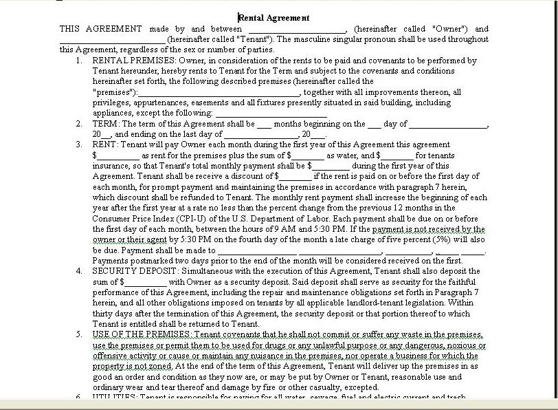 Printable Agreement Form 8 Best Photos Of Easy Printable Lease - free tenant agreement