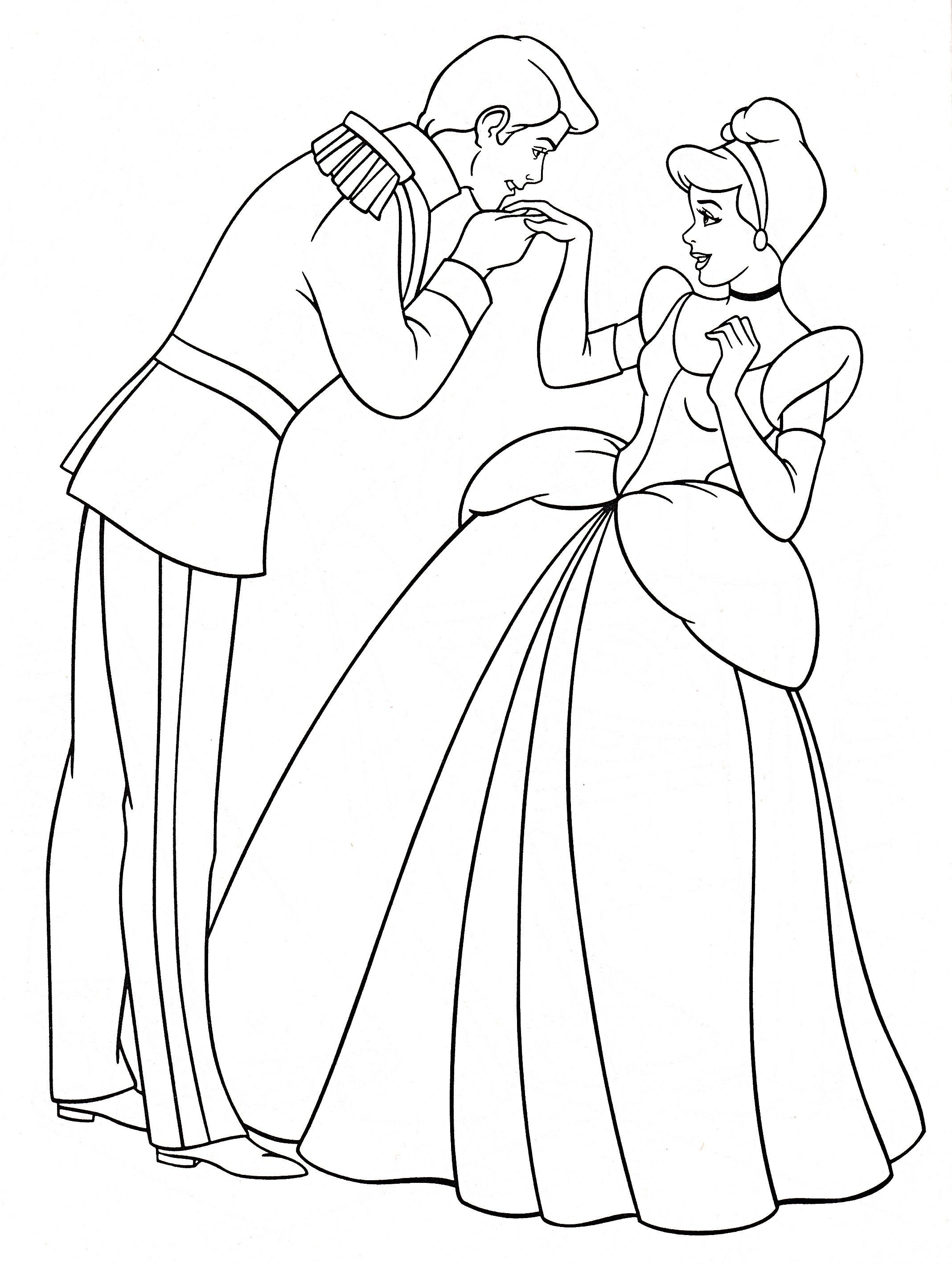 Walt disney coloring pages prince charming princess cinderella
