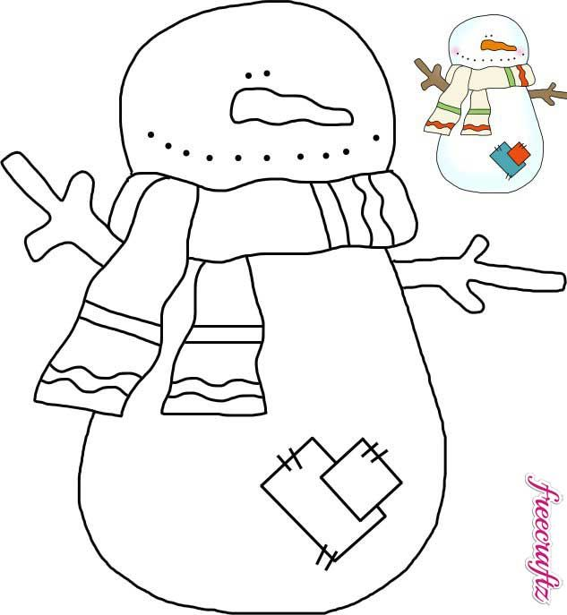 Snowman Template with a Scarf and Patches jigsaw patterns - snowman template