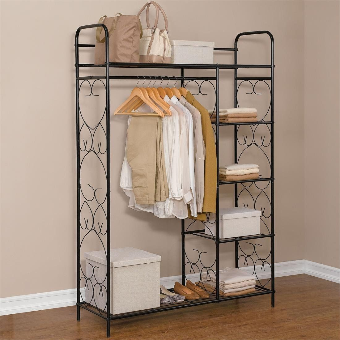 Metal Closet Amazon Brylanehome 5 Tier Metal Closet With Hanging
