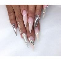 Stiletto nails chrome and ombr nail design summer nail ...