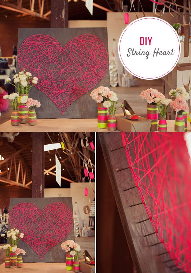 DIY String Art Heart Tutorial - Cute DIY Bedroom Decor Ideas for - diy ideas for bedrooms