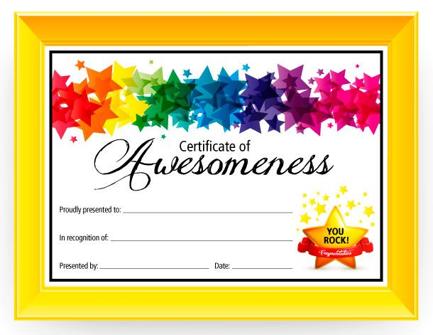 Certificate of Awesomeness Free printable certificates - printable congratulations certificate