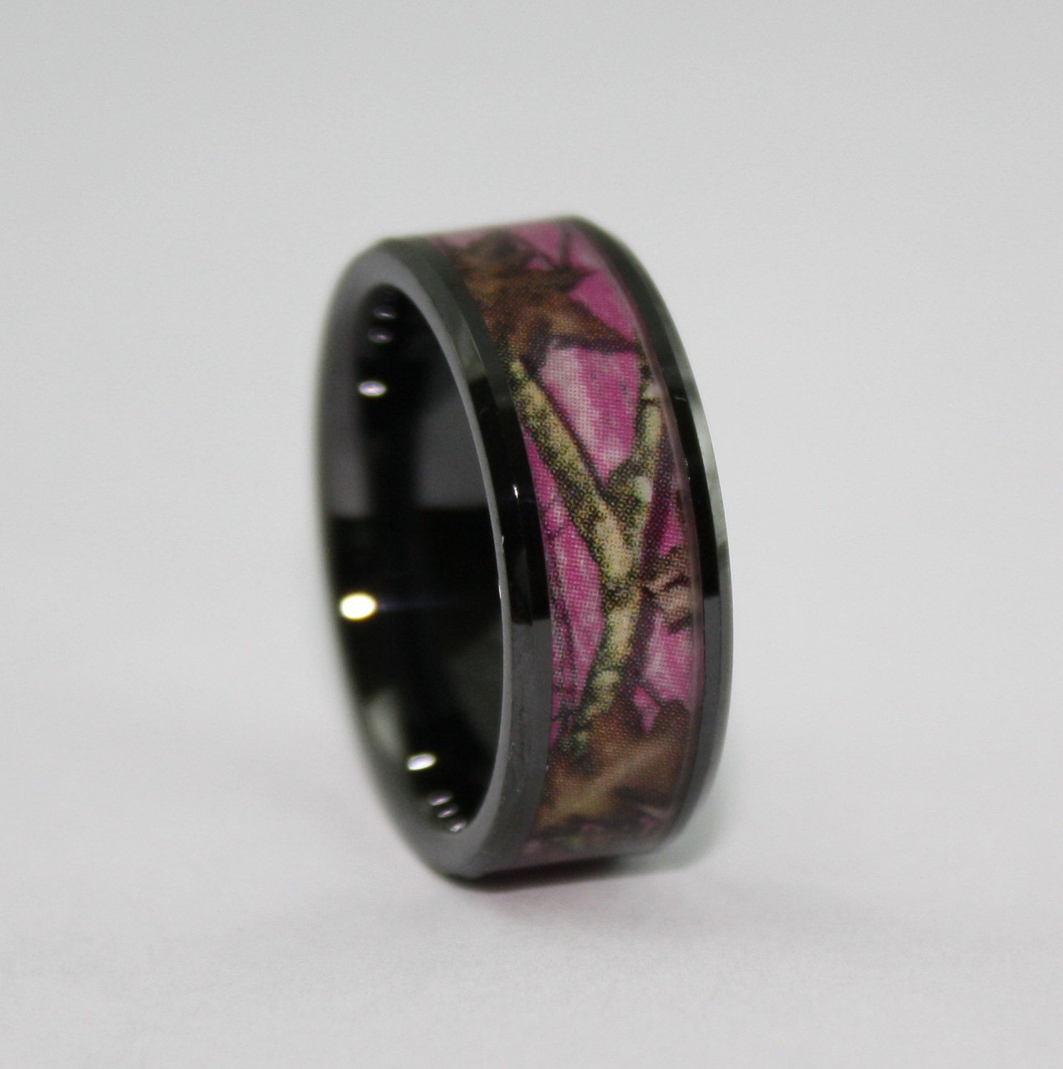wedding rings for electricians Pink Camo Wedding Rings by ONE CAMO Pink Camo Black Rings Pink Camouflage Wedding Ring Ceramic Ring for Electricians
