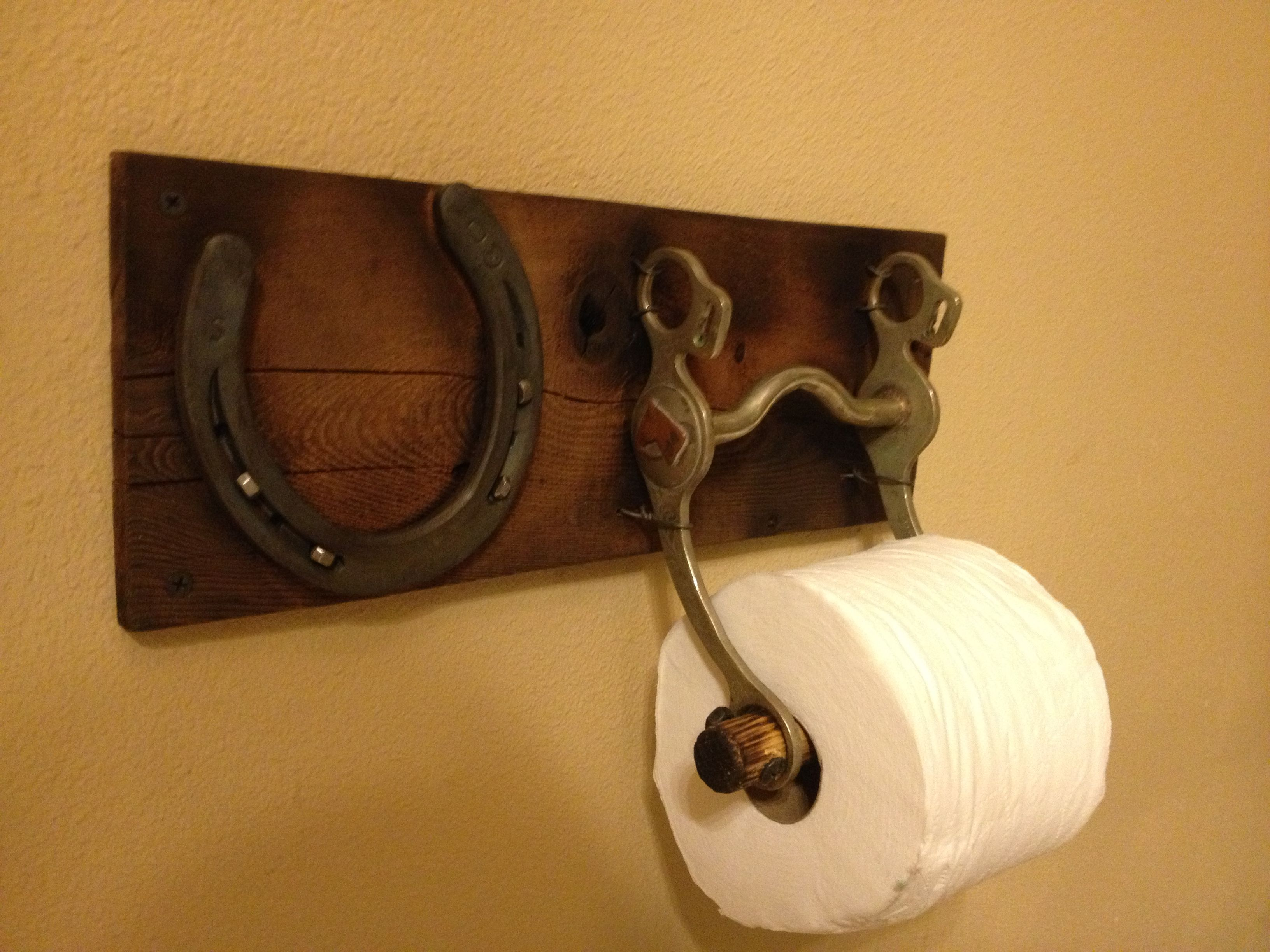 Concealed Toilet Paper Holder Toilet Paper Holder With An Old Horse Bit And Horse Shoe
