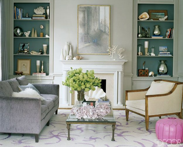 Formal living room accent color on the inside of the book shelves - vintage living room ideas