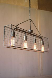 Four bulb wire mesh horizontal pendant light | Wire mesh ...
