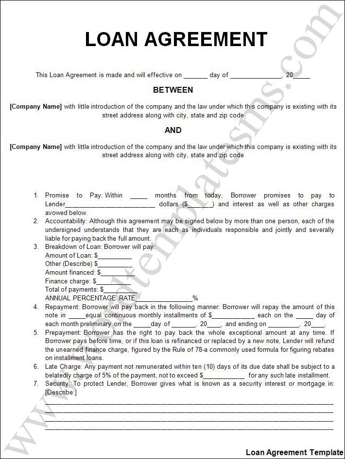 Printable Sample Personal Loan Agreement Form Laywers Template - loan document