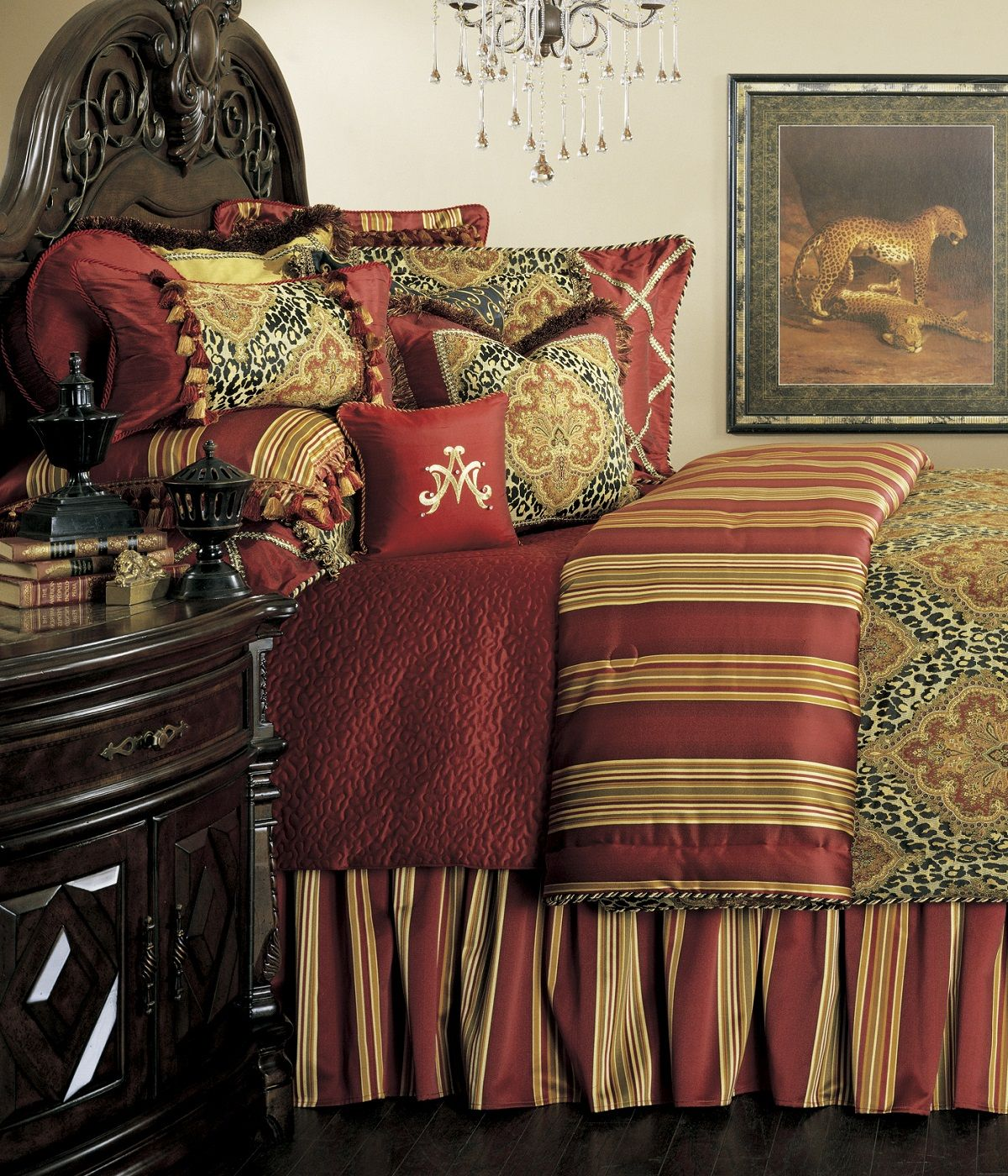 Nobel philippe bed set one s nest custom burgundy red gold damask leopard print luxury tuscan villa