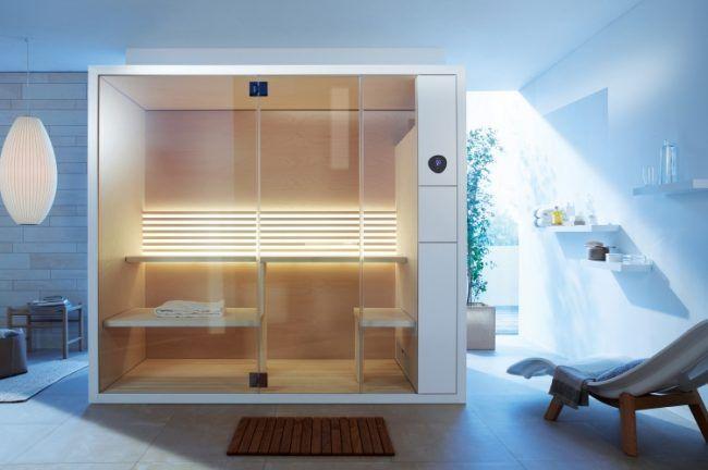 bad-sauna-planen-beachten-modernes-design-kabine-liege-badezimmer - badezimmer mit sauna
