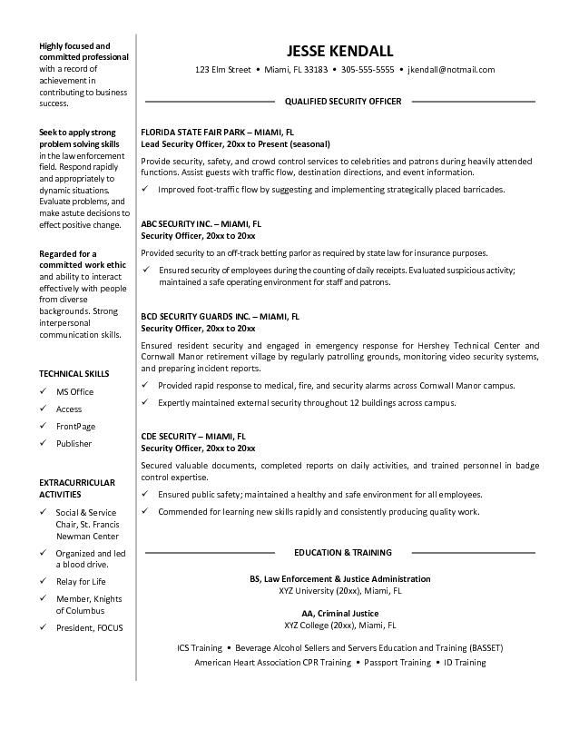 It Security Officer Sample Resume Unforgettable Security Guard - security guard resume