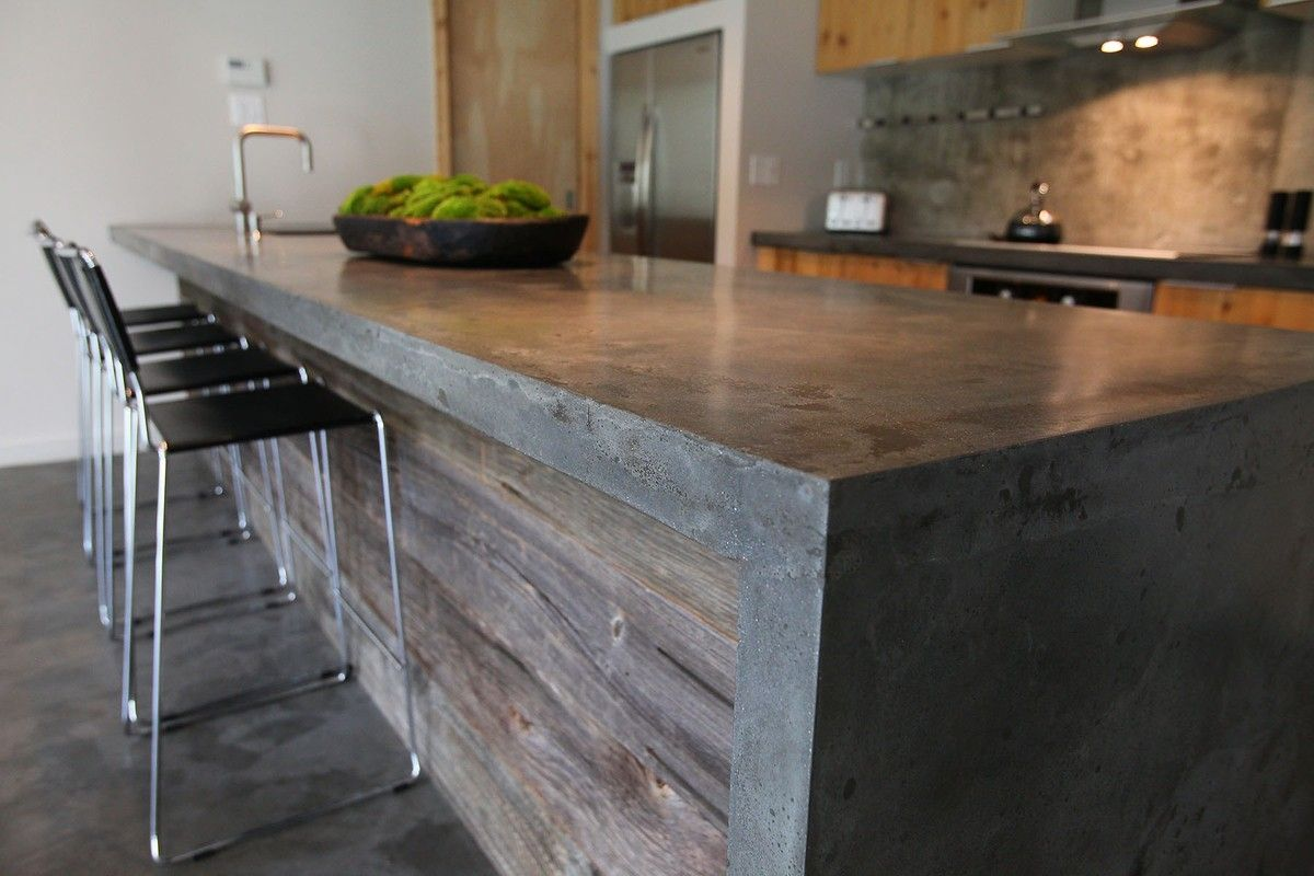 What Kind Of Concrete To Use For Countertops Concrete Island With Barnwood I Have No Idea How I Can