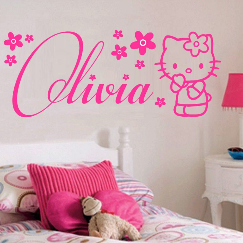 Personalised hello kitty wall sticker customised your name mural wall art childrens room decor