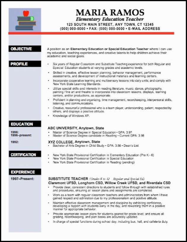 resume model for college professor position