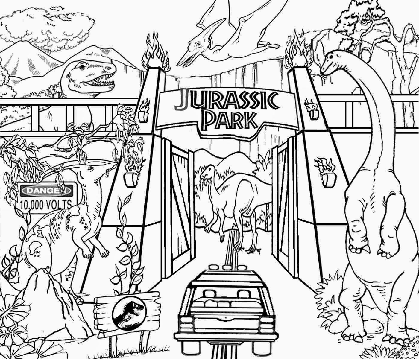Detailed printable high resolution free clipart jurassic park dinosaur coloring pagesjurassic