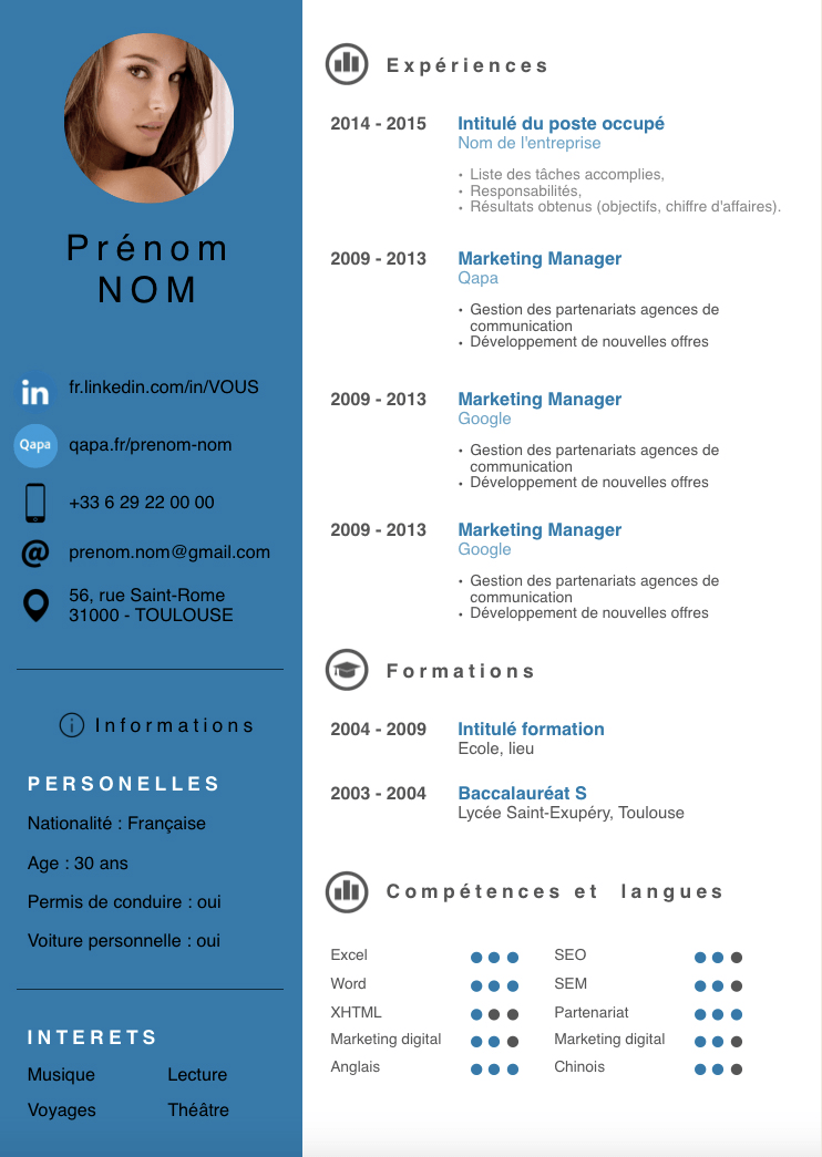 creer un cv plus moderne et simple
