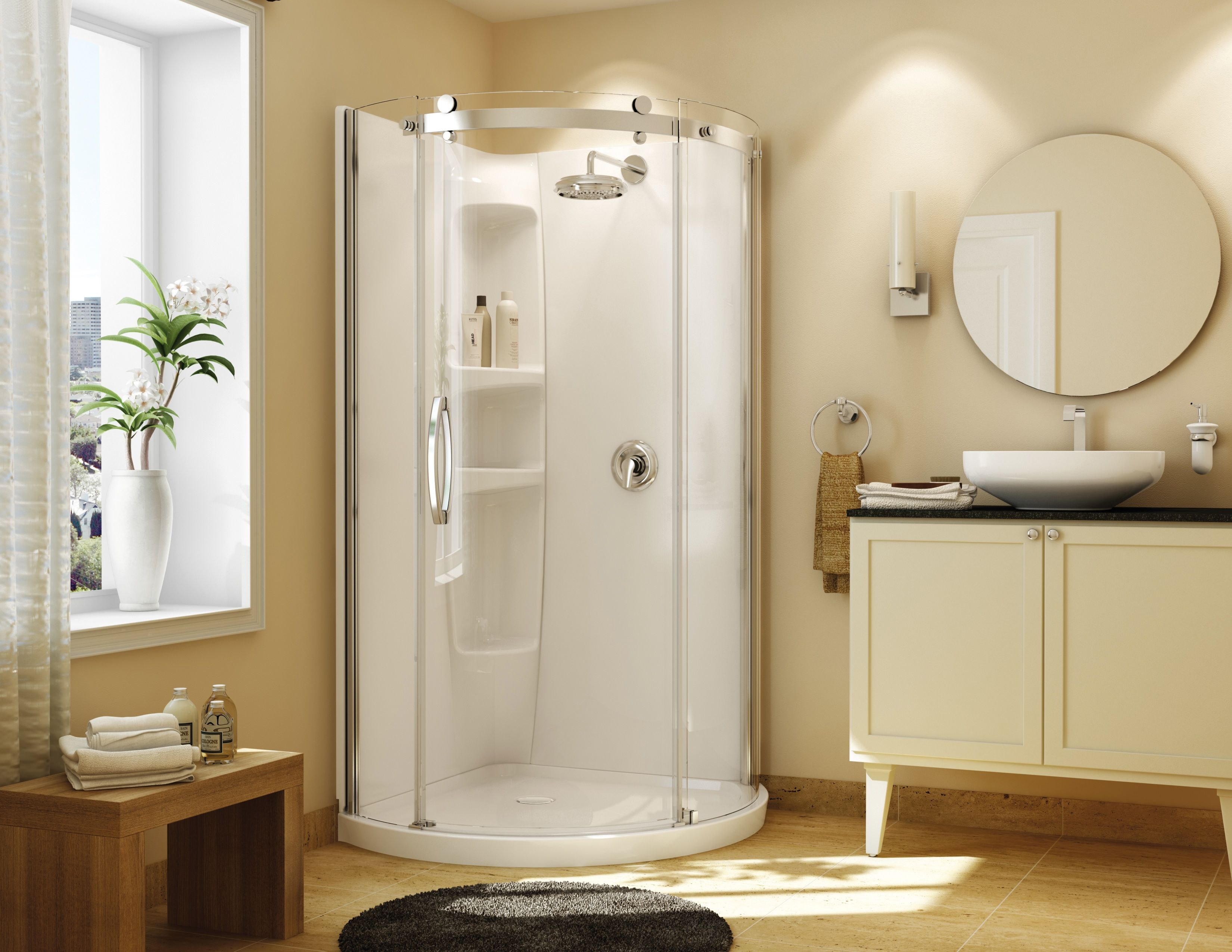 The olympia round shower by maax is the most innovative shower kit on the market that