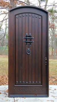rustic arched exterior single front doors | Lake house ...