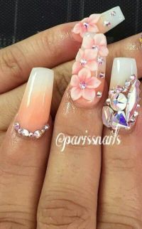 Pink pastel rhinestone ombre floral nailart flower nails ...