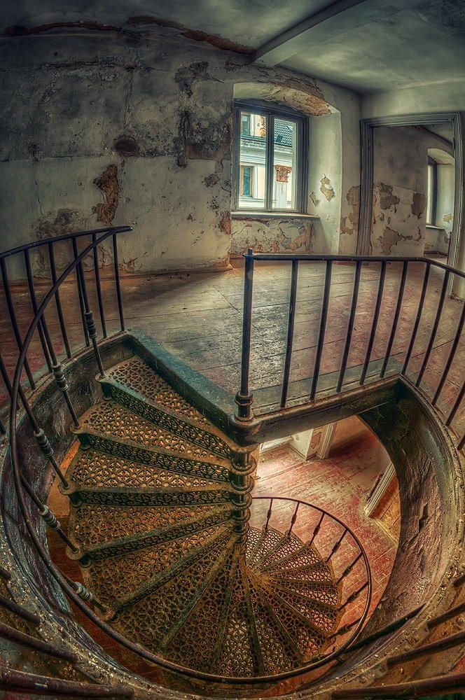 Sven Fennema Spiral Staircase In An Abandoned Palace In Poland