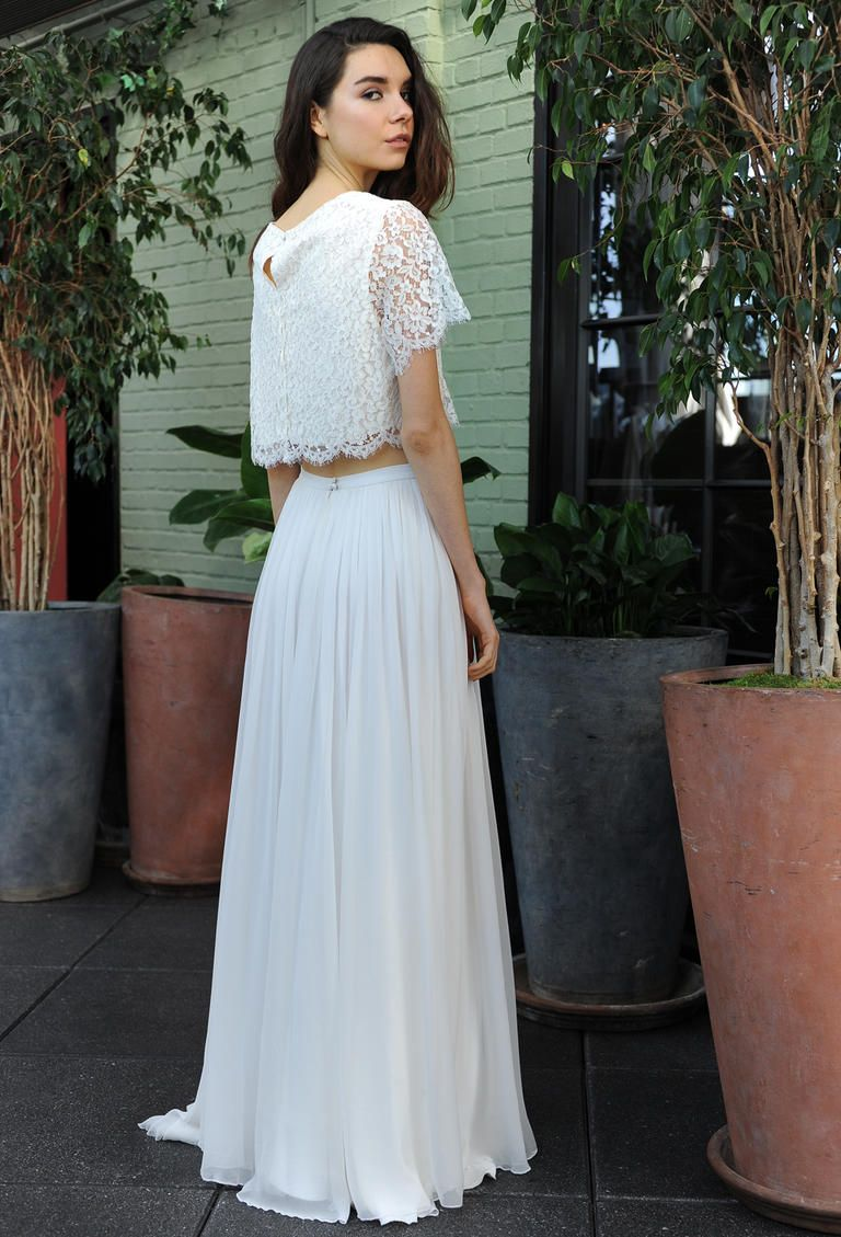 crop top wedding dress Sarah Seven crop top wedding dress with lace keyhole back bodice and flowy skirt Fall