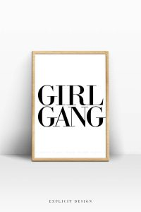 Girl Gang Poster, Feminist Quote Wall Art, Motivational ...