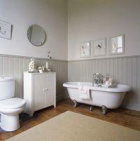 Country bathroom-cast iron tub,beadboard or ...