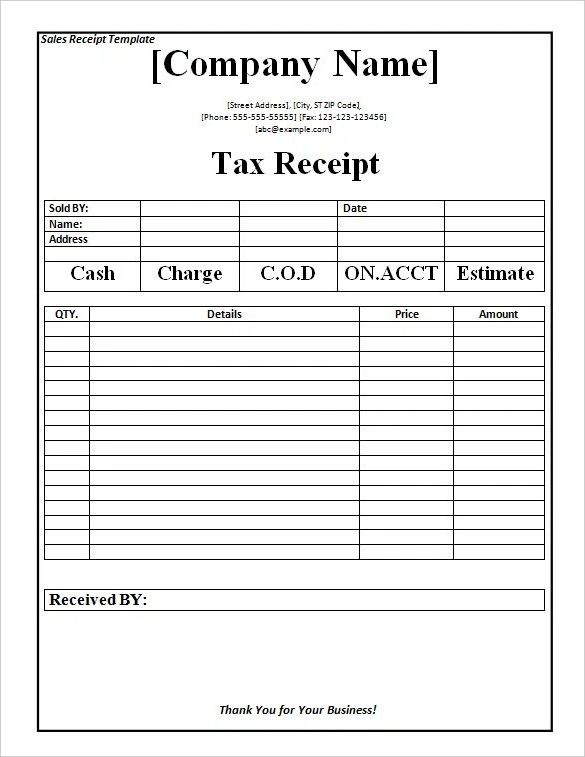 Tax Receipt Template Word Doc for Free , The Proper Receipt Format - payment receipt sample
