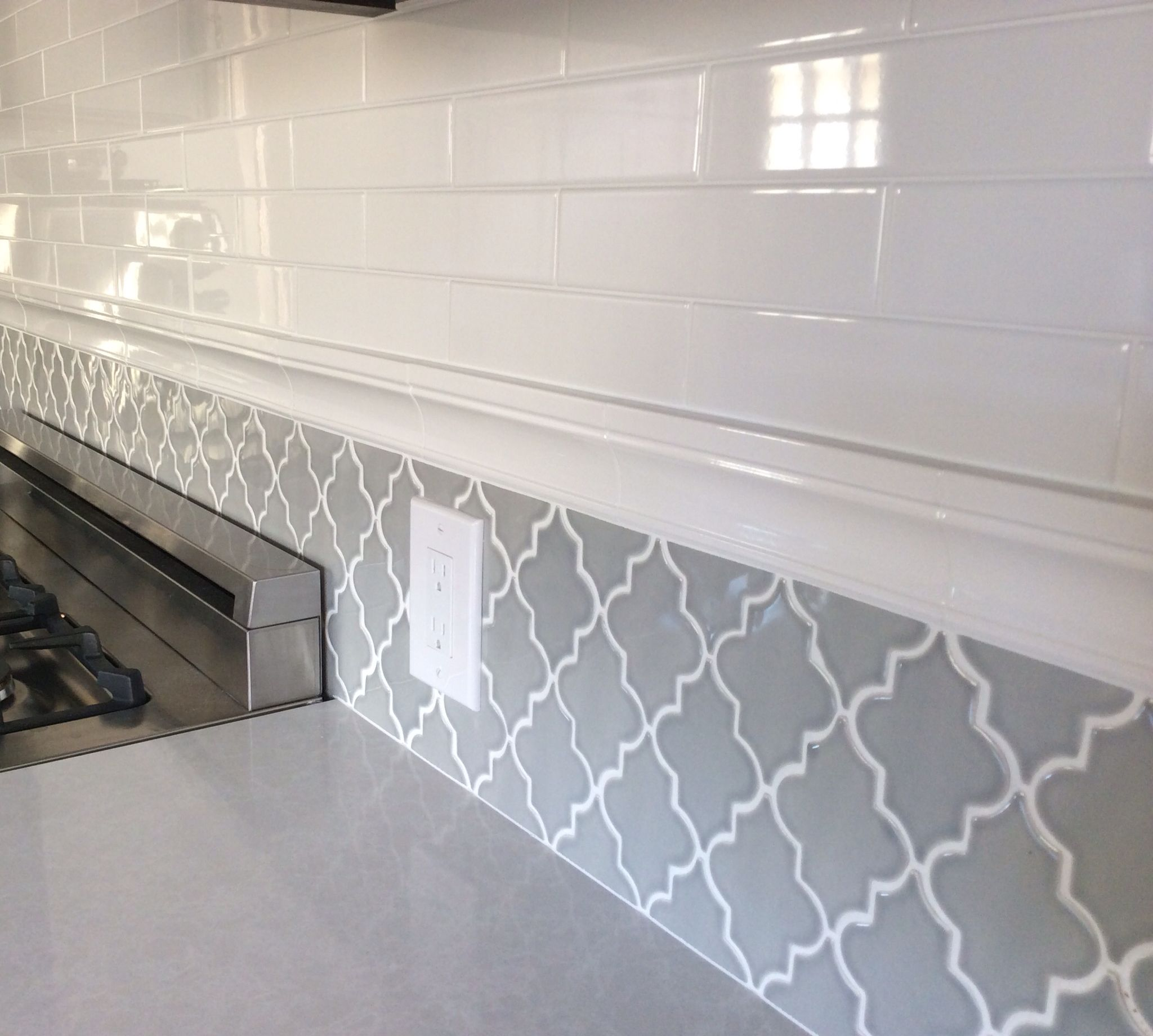 Gray Ceramic Tile Backsplash Backsplash In My New Kitchen Subway Tiles And Arabesque